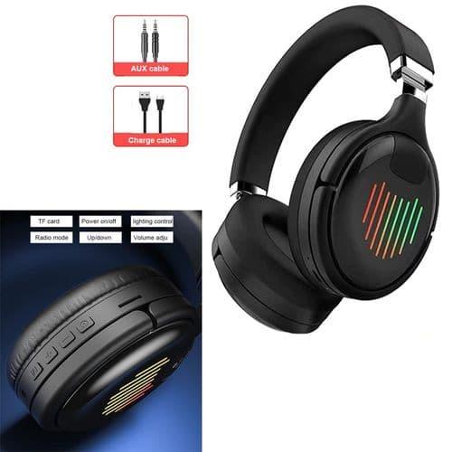 Casque Audio Sans Fil Lumière Led Pliable Bluetooth V5.0 Avec Fente Carte Fm